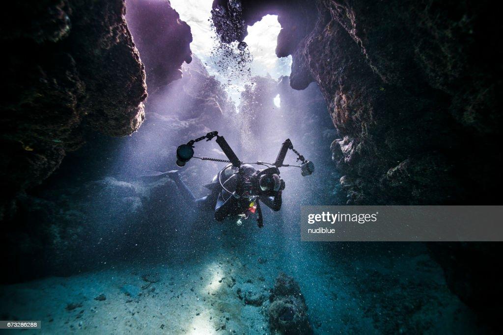 underwater Phtographer : Stock Photo