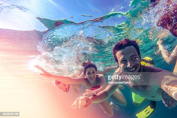 underwater selfie - diving into water stock pictures, royalty-free photos & images