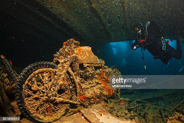 Underwater Ship Wreck Diving  SS Thistlegorm    BSA M20 motorcycle