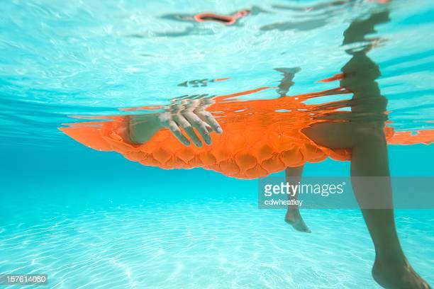 Unterwasser Aufnahmen von Frau auf dem Wasser treiben in der Karibik