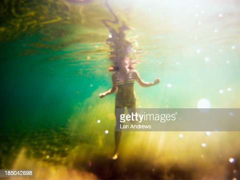 Underwater shot of woman with head above water
