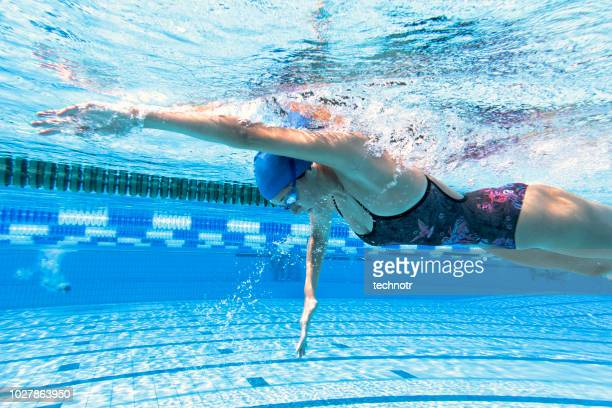 Underwater Shot of Young Women Freestyle Swimming