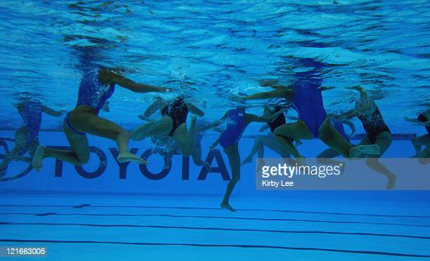 Underwater view of Canada and Greece women's water polo players during fifthplace match of the FINA Women's World League Super Final on Sunday June...