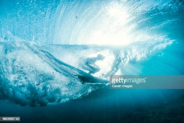 underwater view of person surfboarding on wave - surf imagens e fotografias de stock