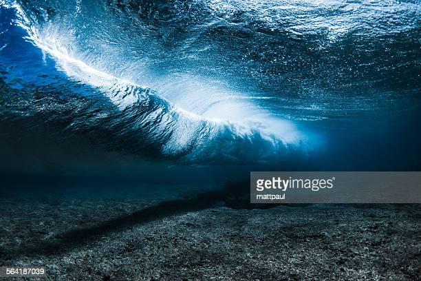 Underwater Wave breaking along the reef, Hawaii