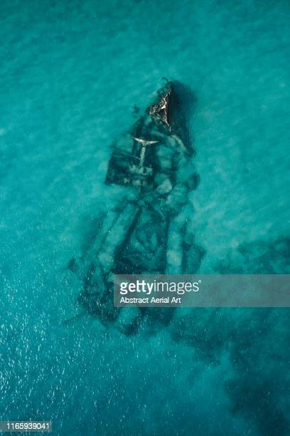 underwater wreck as seen from above, lanzarote - shipwreck stock pictures, royalty-free photos & images