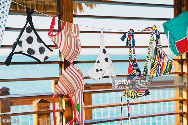 Underwear and swimming costumes hanging