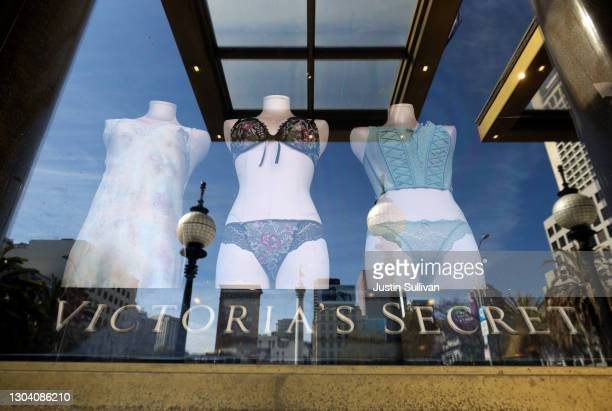 Underwear is displayed in a window at a Victoria's Secret store on February 25, 2021 in San Francisco, California. L Brands, the parent company of...