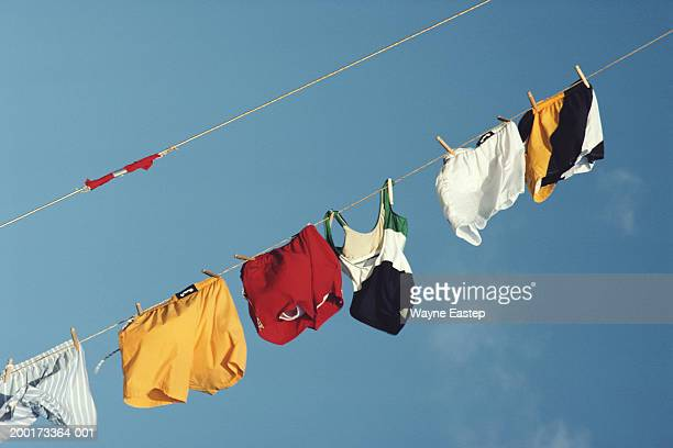 Underwear on washing line, low angle view