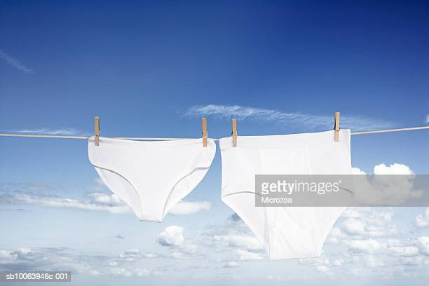 Underwear pegged on washing line, low angle view