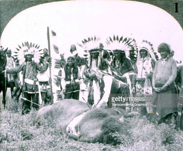 Underwood Underwood publishes stereo views for education like this example of Geronimo at the 101 Ranch Shows from 1900 out of New York City