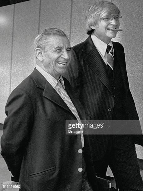 Underworld financier Meyer Lansky arrives with Attorney E David Rosen in Jacksonville Florida to appear before the 3rd statewide grand jury...