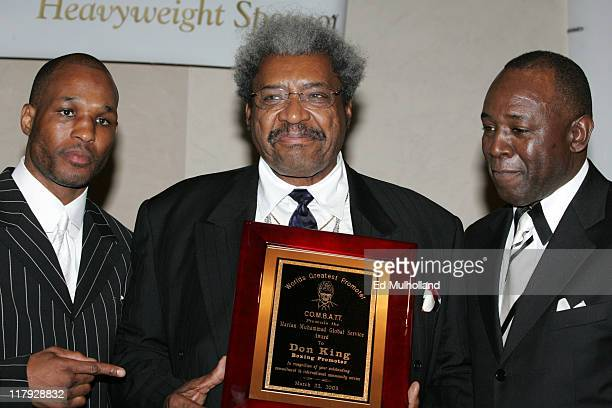 Undisputed Middleweight Champ Bernard Hopkins Fight promoter Don King with COMBATT founder Larry Hazzard are honored at the Community Organization...