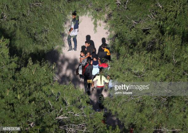 Undocumented immigrant families walk before being taken into custody by Border Patrol agents on July 21 2014 near McAllen Texas Thousands of...