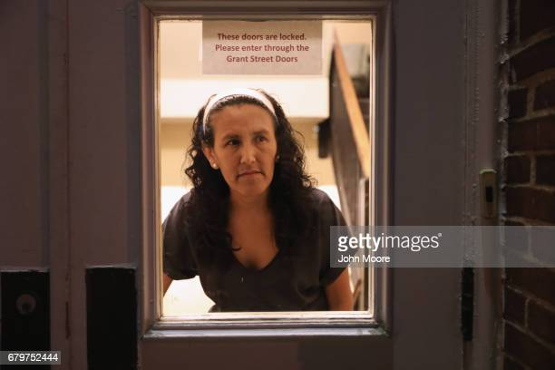 Undocumented immigrant Jeanette Vizguerra looks out from the First Baptist Church on May 5 2017 in Denver Colorado Vizguerra who has lived in the US...
