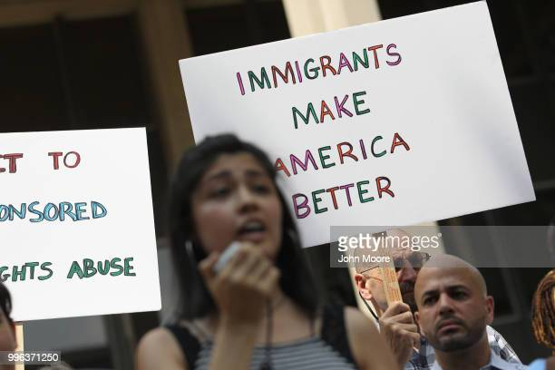 Undocumented immigrant Larissa Martinez from Mexico City speaks at a protest rally against the separation of immigrant families in front of a US...