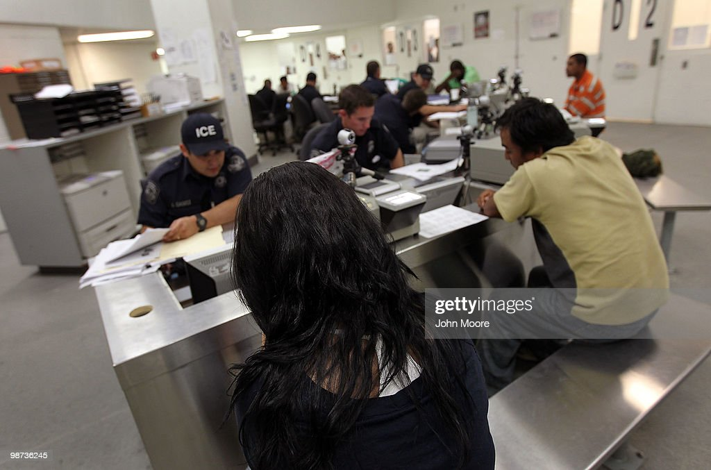 Undocumented Mexican immigrants are in-processed at the Immigration and Customs Enforcement (ICE), center on April 28, 2010 in Phoenix, Arizona. Across Arizona, city police and county sheriffs' departments turn over detained immigrants to ICE, which deports them to their home countries. Last year ICE deported some 81,000 illegal immigrants from the state of Arizona alone, and with the passage of the state's new tough immigration enforcement law, the number of deportations could rise significantly.