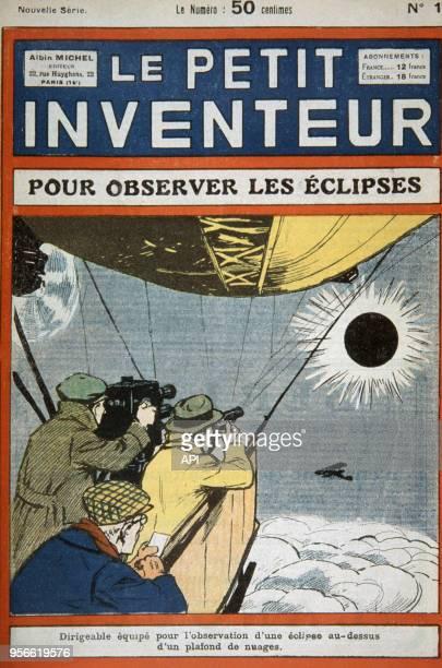 Une du 'Petit Inventeur' représentant des hommes observant une éclipse de soleil depuis une montgolfière