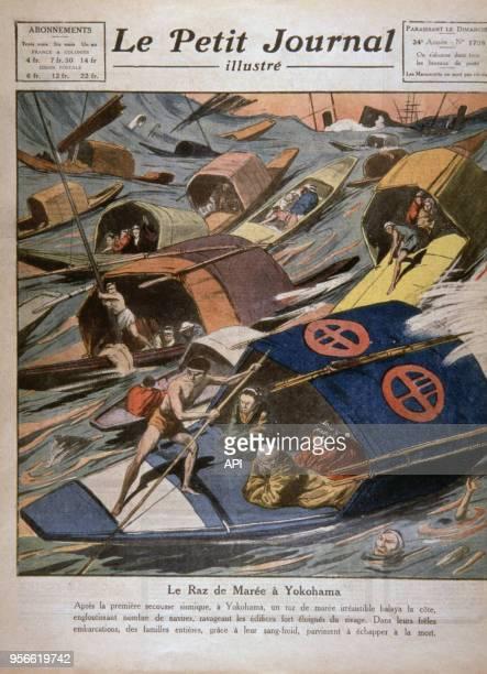 Une du Petit Journal représentant un tsunami en 1923 à Yokohama Japon