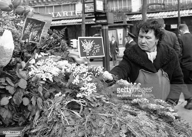 Une marchande de rue examine son étal de muguet sur les Grands Boulevards le 1er mai 1962 à Paris France