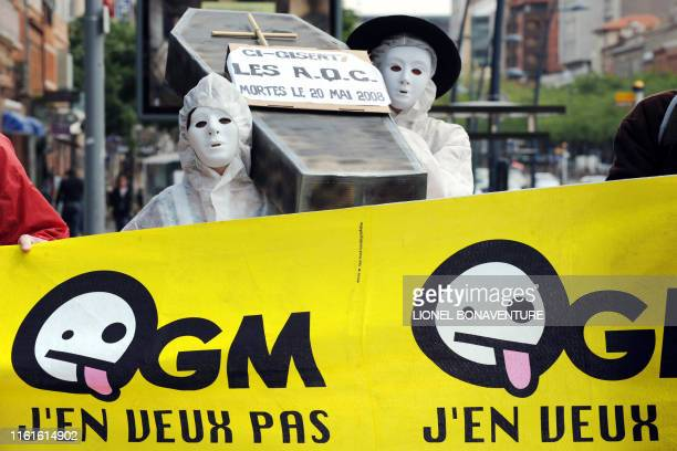 """Une quarantaine de militants du """"Collectif anti-OGM 31"""" manifestent devant la permanence départementale de l'UMP à Toulouse, le 20 mai 2008, afin de..."""