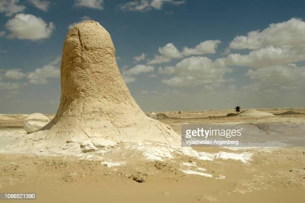 unearthly chalk rock formations in stark desert landscape of white desert, egypt - argenberg ストックフォトと画像