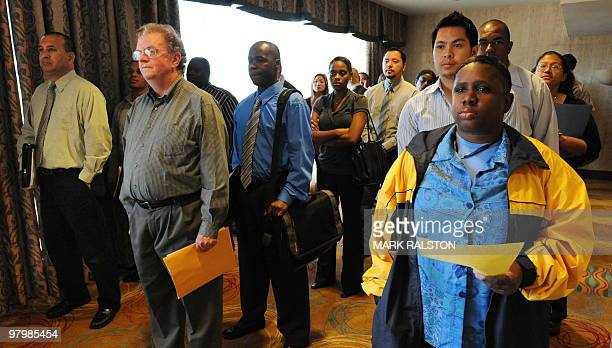Unemployed Americans line up to speak with a prospective employers at the Los Angeles Career Fair on March 23, 2010. US Treasury Secretary Timothy...