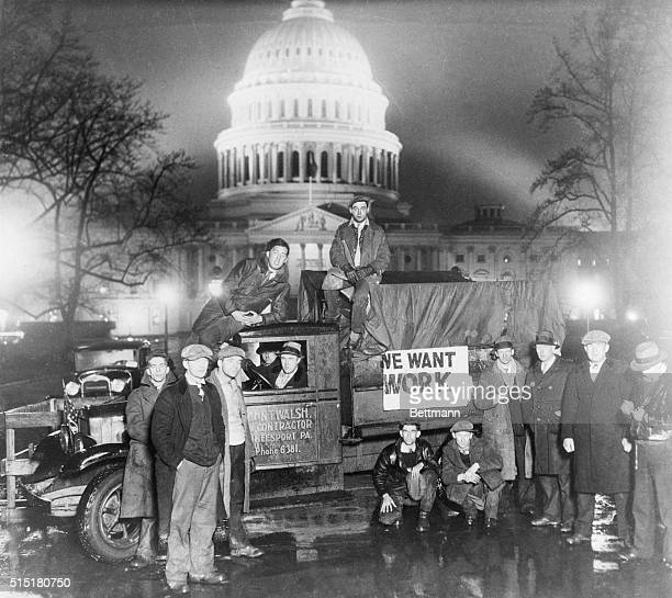 Unemployed men arrive at the capitol in Washington DC by the truck load to appeal for Federal Aid.