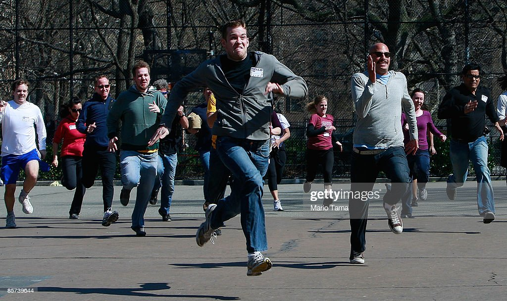Unemployed People Race To The Unemployment Office While Competing In Mock