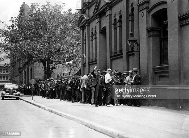 Unemployed queue outside a soup kitchen in Sydney in 1932