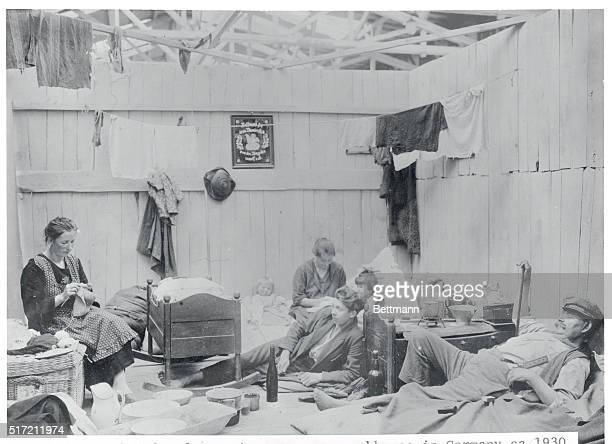 Unemployed refugees in temporary workhouse in Germany is shown
