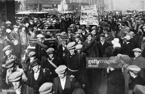Unemployed South Wales Miners seen here in Reading during their hunger march from the Rhondda Valley to London to protest against the Ministry of...