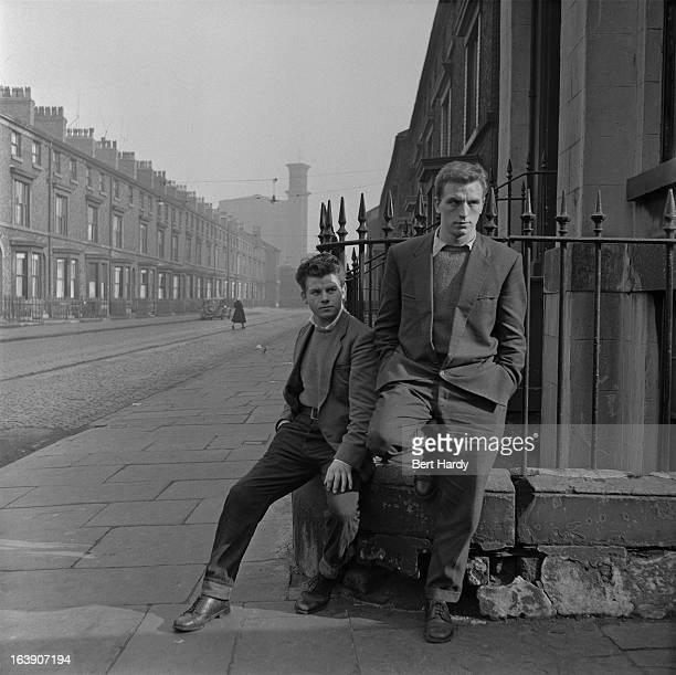 Unemployed teenagers on a street corner Liverpool 4th March 1957 Original publication Picture Post 8859 The Truth About Teenagers pub 18th March 1957