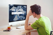 unemployment concept, job search on internet