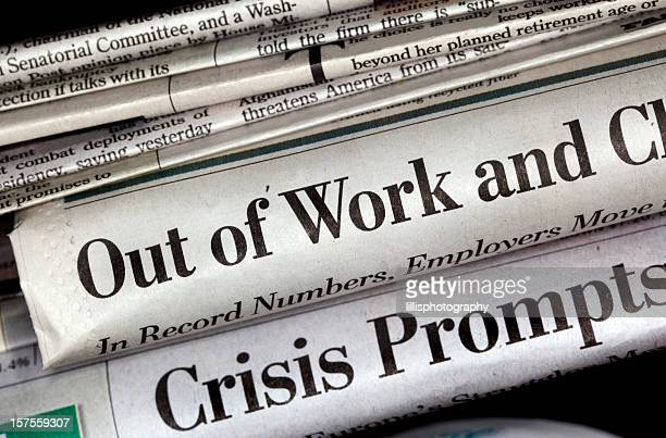 unemployment newspaper headlines - newspaper headline stock pictures, royalty-free photos & images