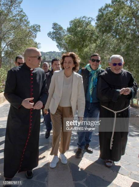 Unesco Director General Audrey Azoulay on an official visit to Jordan. Photographed for Paris Match at the Mont Nébo with Monsignor Mauro Lalli,...