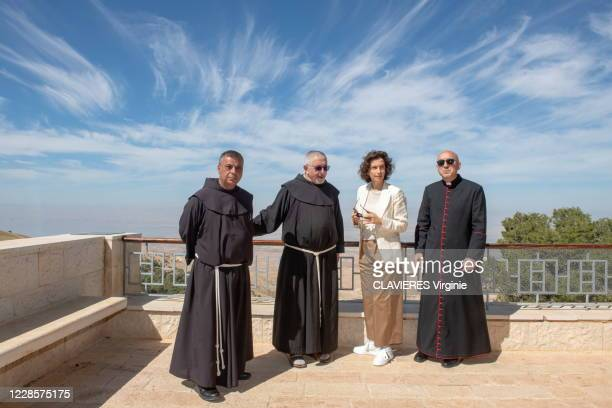 Unesco Director General Audrey Azoulay on an official visit to Jordan Photographed for Paris Match at the Mont Nébo with Monsignor Mauro Lalli first...