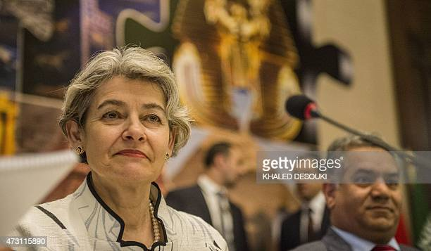 Unesco general director Irina Bokova looks on during a twoday international conference aimed at unifying the international efforts to combat the...