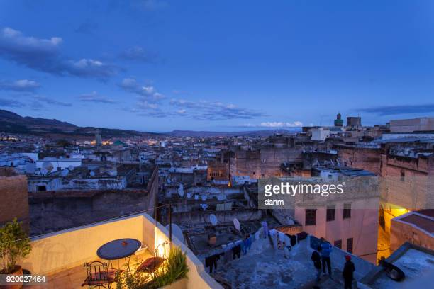 Unesco heritage medina of the Fes at night, Morocco