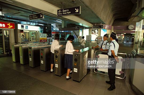 Unexpected Bangkok On January 12Th, 2000 In Bangkok, Thailand. Entry Of An Elevated Railway Station.