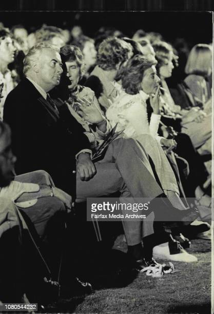 Unexpected guests at the concert the Opposition Australian at Sydney Sportsground tonightMr and Mrs Whitlam relax at a concert Neil Diamond at the...