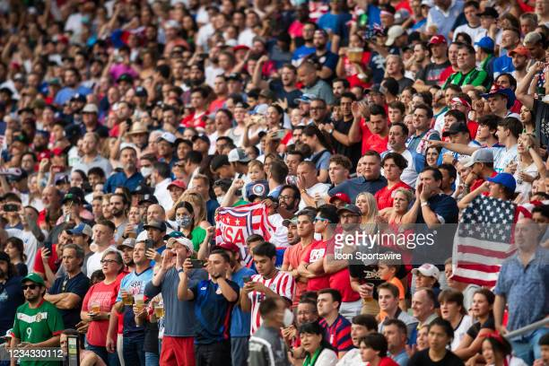 Unfettered fans cheer on their respective teams during the Gold Cup semifinal match between the United States and Qatar on Thursday July 29th, 2021...
