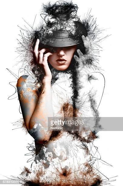 unfinished beauty - cuerpo pintado fotografías e imágenes de stock