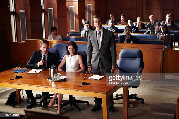 SUITS Unfinished Business Episode 303 Pictured Patrick J Adams as Mike Ross Michelle Fairley as Ava Hessington Gabriel Macht as Harvey Specter