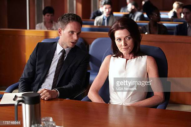 SUITS Unfinished Business Episode 303 Pictured Patrick J Adams as Mike Ross Michelle Fairley as Ava Hessington