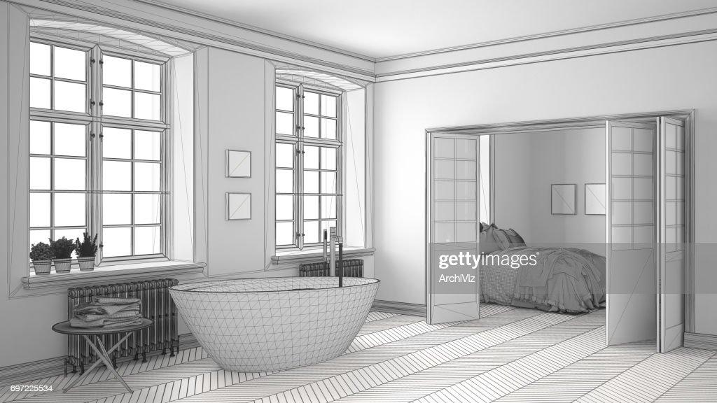 Onvoltooide project van minimalistische witte badkamer met