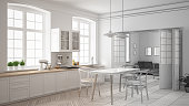 Unfinished project of minimalist white kitchen, sketch abstract interior design