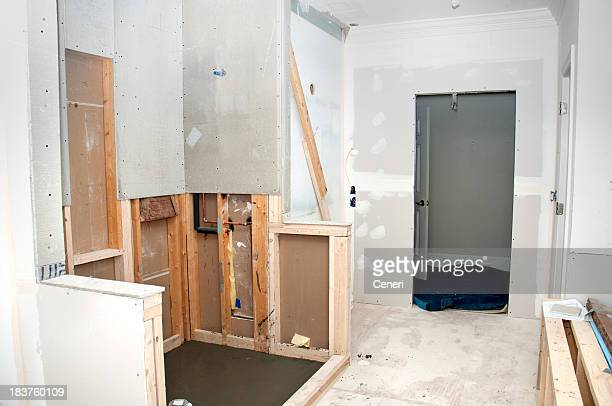 Unfinished renovation of a home bathroom