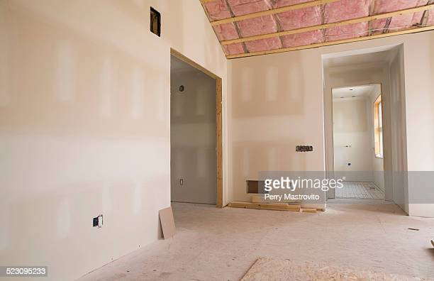 Unfinished room and bathroom in a residential home, Quebec, Canada