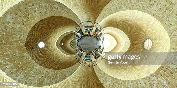 Unfolded 360 degree view of the main alley of the bazar market in Kermanshah.